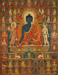 Painted Banner (Thangka) with the Medicine Buddha (Bhaishajyaguru)