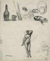 Sheet of Sketches: Standing Female Nude, Tree, Still Life, Fingers and Eye