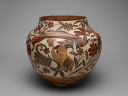 Polychrome Jar with Rainbow, Macaw, and Floral Motifs
