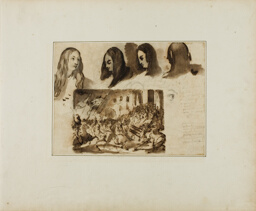 Four Views of a Woman's Head; a Parade Before Louis XVIII