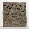 Buddha Worshipped by the Gods Indra and Brahma