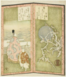 Plum blossoms and poet, from an untitled hexaptych depicting a pair of folding screens