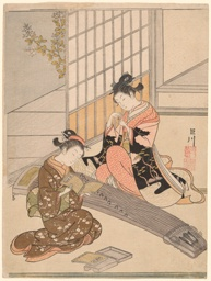 "Descending Geese of the Koto Bridges (Kotoji no rakugan), from the series ""Eight Views of the Parlor (Zashiki hakkei)"""