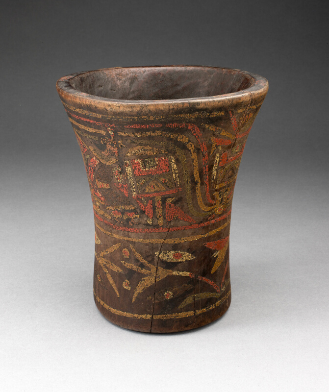 Drinking Vessel Kero With Floral And Animal Motifs The Art
