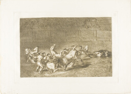 Two teams of picadors thrown one after the other by a single bull, plate 32 from The Art of Bullfighting
