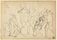 Classical Combat (recto); Sketch of Male Nude (verso)