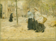 Two Washerwomen Crossing a Small Park in Paris