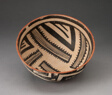 Bowl with Radiating Striped Bands and Triangles and Interlocking Zigzag on Exterior