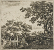 Three Large Trees on a Hill, plate five from Set of Landscapes