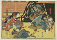 "Actors as Fukashichi and Omiwa from the play ""Imoseyama,"" from an untitled series of half-block images of kabuki scenes"