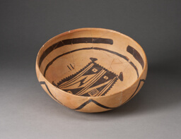 Bowl with Abstract, Geometric Rendering of Blanket on Interior
