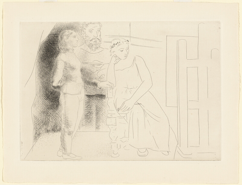 Line Drawings From D Models : Painter with two models looking at a canvas plate from le