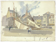 Sails and Nets, Honfleur (recto); Sketch of Boats and Buildings (verso)