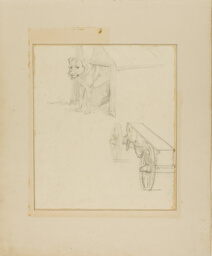 Dog Standing in Dog House and Study of a Munitions Cart