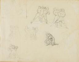 Seven Sketches of Pairs of Boxers or Wrestlers