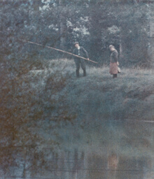 Couple Fishing from Bank of Seine, France