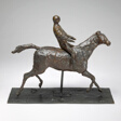 Horse with Jockey; Horse Galloping, Turning Head to the Right, Feet Not Touching the Ground