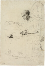 The Wool Carder (recto); Fragmentary Sketch of Man Standing by Fence (verso)