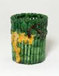 Bamboo-Shaped Brush Holder with Plum Blossom Tree