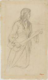 """Young Woman Playing a Mandolin, Study for Portrait of Mlle. Fiocre in the Ballet """"La Source"""""""