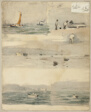 Sketches of Marine Scenes (recto); Two Sketches: Twoer Beside Stormy Coast, Cloudy Seascape