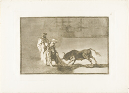 The Moors make a different play in the ring calling the bull with their burnous, plate six from The Art of Bullfighting