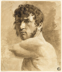 Bust of Male Nude (recto); Portrait Sketch of Man with Sketches of Women (verso)