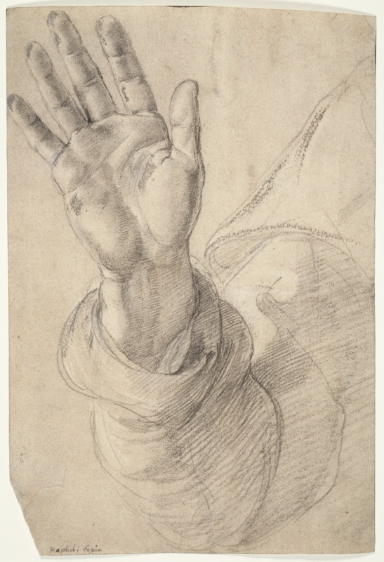 Upraised right hand with palm facing outward study for - Raphael dessin ...