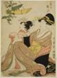 The Courtesan Yoso-oi of the Pine Needle House in the Yoshiwara and Her Attendant (Matsubaya Yoso-oi)