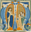 Christ Blessing Three Young Men, initial 'M' from a Gradual