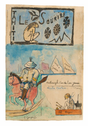 Caricatures of Gauguin and Governor Gallet, with headpiece from Le sourire