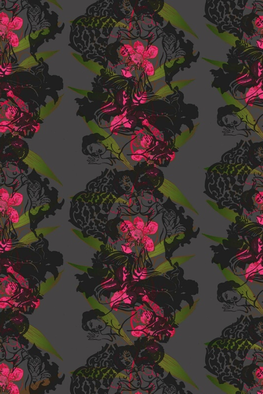 Oriental Orchid Red And Greens On Black Wallpaper Ideas