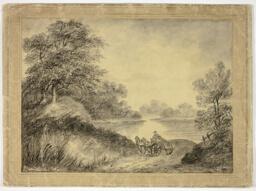 Man in Horse-Drawn Cart Beside Lake