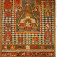 Painted Banner (paubha) of Goddess Ushnishavijaya Within a Funerary Mound (chaitya) and Surrounded by Chaityas