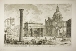 Arch of Septimius Severus through which passed the ancient Sacred Way, bringing victors to the Capitol, from Views of Rome