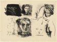 Page of Sketches (Heads of Children and Horses)