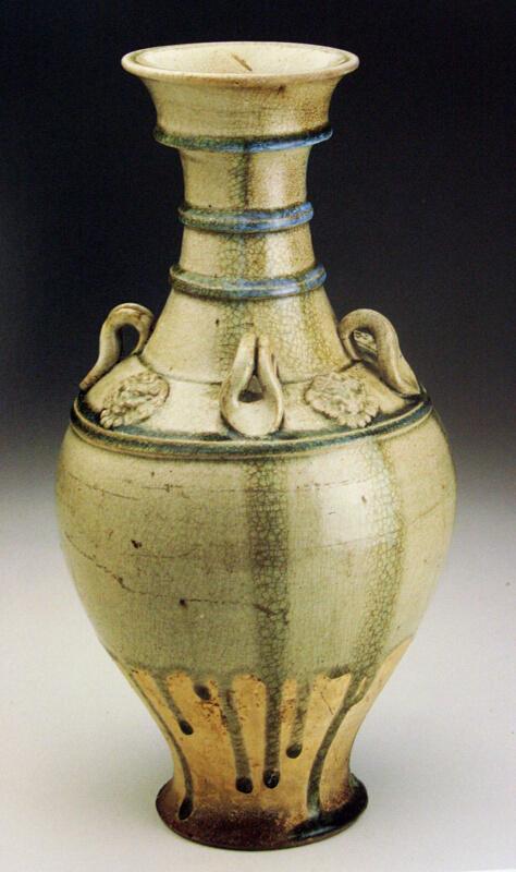Vase Hu With Horizontal Bands Loop Handles And Lionlike