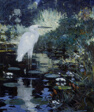 White Heron in a Pool in a Garden