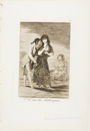 Even Thus he Cannot Make Her Out, plate seven from Los Caprichos