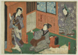 Actors as Genroku, Otsuma, and Shokuro, from an untitled series of half-block images of kabuki scenes