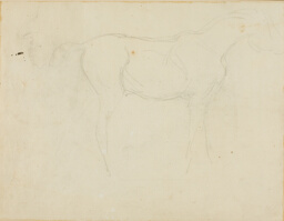 Sketch of a Horse Facing Right and a Caricature in Profile