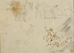 Sketches of Horses, Groom Holding Horse, a Cavalry Battle