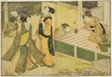 "New Year Games of Shuttlecock, Battledore, and Hand Ball, from the illustrated book ""Picture Book: Flowers of the Four Seasons (Ehon shiki no hana),"" vol. 1"