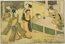 """New Year Games of Shuttlecock, Battledore, and Hand Ball, from the illustrated book """"Picture Book: Flowers of the Four Seasons (Ehon shiki no hana),"""" vol. 1"""