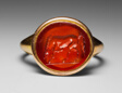 Finger Ring with Engraved Gemstone