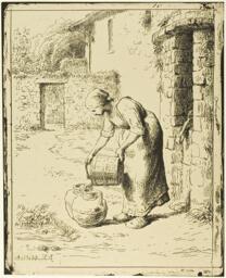 Woman Emptying a Pail