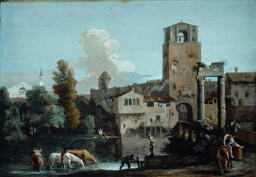 A Capriccio with Horses Watering in a River Outside a Walled Town