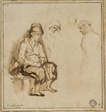Woman Seated on Bench and Three Sketches of Heads