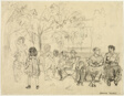 Women and Children on Park Benches (recto); Women and Children in a Park (verso)