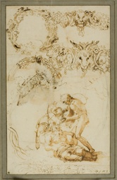 Drunken Silenus and Decorative Sketches: Studies for the Tazza Farnese (recto); Two Putti Fighting: Study for the Galleria Farnese (verso)